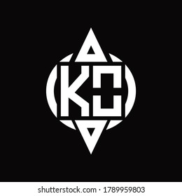 KO Logo with circle rounded combine triangle top and bottom side design template