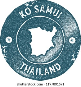 Ko Samui map vintage stamp. Retro style handmade label, badge or element for travel souvenirs. Blue rubber stamp with island map silhouette. Vector illustration.