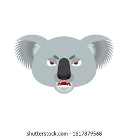 Koala angry emoji. koala bear evil emotions avatar. Beast aggressive. Vector illustration