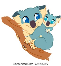 Koala with baby, cute drawing, digital vector illustration of australia, marsupials.