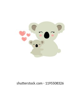 Koala bear and baby koala animal cartoon character isolated on white background.