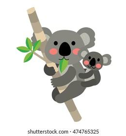 Koala bear and baby koala climbing tree animal cartoon character isolated on white background.