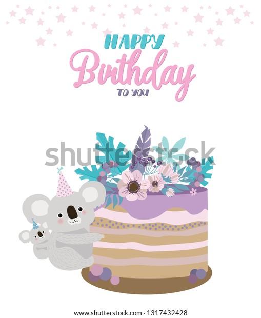 Outstanding Koala Bear Birthday Card Cute Birthday Stock Vector Royalty Free Funny Birthday Cards Online Hetedamsfinfo