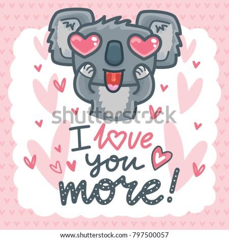 Koala Bear Character Heart Eyes Lettering Stock Vector Royalty Free