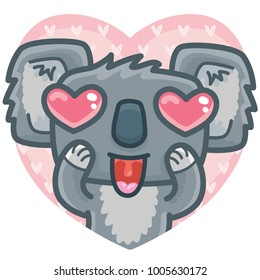 Koala bear character madly in love on romantic pink background in heart shape. Vector illustration art in cartoon, doodle hand drawn style: for Valentine Day cards, poster, wedding, invitation