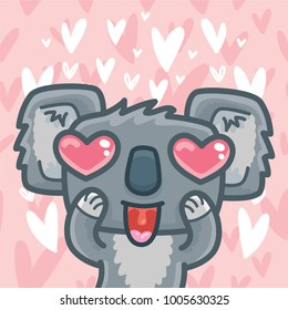 Koala bear character madly in love with heart eyes on romantic pink background. Vector illustration art in cartoon, doodle hand drawn style: for Valentine Day cards, poster, wedding, invitation