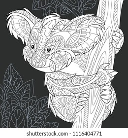 Koala bear drawn in line art style. Jungle background in black and white colors on chalkboard. Coloring book. Coloring page. Zentangle vector illustration.