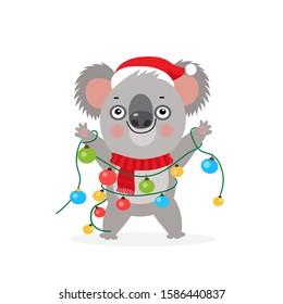 Koala Bear Kid. Cute Cartoon Koala Bear Characters. Merry Christmas Vector Illustration. Koala With Christmas Lights Garland. Australian New Year Card.