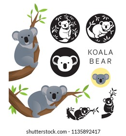 Koala Bear Vector Set, on the Tree, Silhouette and Icon