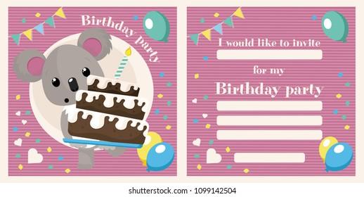 Koala birthday invitation