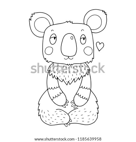 Koala Coloring Page Illustration Kids Adults Stock Vector Royalty