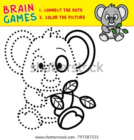 Koala Coloring Page Kids Brain Games Stock Vector Royalty Free