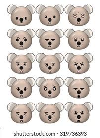 Koala Emoticons Set Different Expresssions