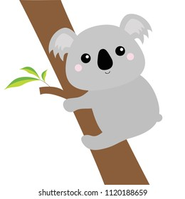 Koala face head hanging on eucalyptus tree. Gray silhouette. Kawaii animal. Cute cartoon bear character. Funny baby with eyes, nose, ears. Love Greeting card. Flat design. White background Vector