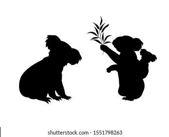 Koala family. Silhouettes of animals. Vector illustrator