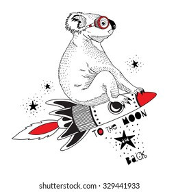 koala flying on the rocket to the moon, kid illustration, art print