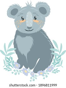 Koala illustration vector. The symbol of Australia is the koala. Baby koala sitting. Illustration of an animal. Nature and animals. Ecology