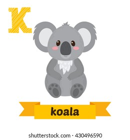 Koala. K letter. Cute children animal alphabet in vector. Funny cartoon animals. Vector illustration