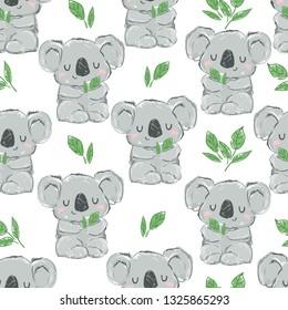 Koala and leaves pattern seamless. illustration. Fabric design.