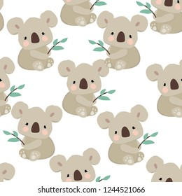 Koala and leaves pattern seamless. Vector illustration. Fabric design.