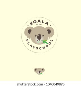 Koala Logo. Cute bear koala emblem. Kindergarten or kids development groups. Koala icon.