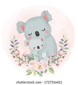 Maternidad Koala, linda ilustración animal, clipart animal, decoración de ducha de bebé, ilustración de bosque.