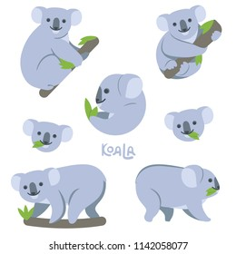 Koala on the branch eats green leaves, sits, hangs, walks. Set of simple cute vector illustrations of an animal, on a transparent background, name written by hand.