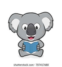 Koala reading a book