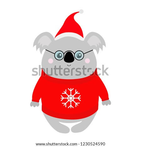 Koala Red Santa Hat Ugly Sweater Stock Vector (Royalty Free ... 1b991d92dc6a