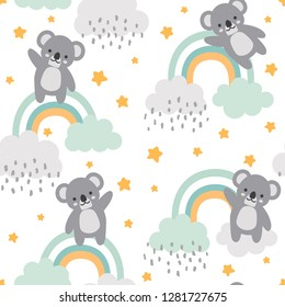 Koala Seamless Pattern Background, Happy cute koala flying in the sky between clouds and star, Cartoon Koala Bears Vector illustration for kids forest background with rain dots