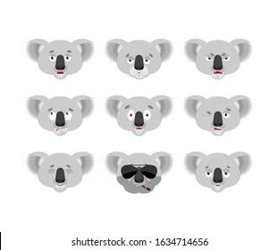 Koala set emoji avatar. sad and angry face. guilty and sleeping. koala bear sleeping emotion face. Beast Vector illustration