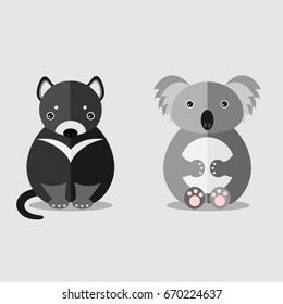 koala and tasmanian devil illustration