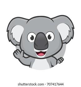 Koala waving in round frame