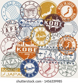 Kobe Japan Set of Stamps. Travel Stamp. Made In Product. Design Seals Old Style Insignia.
