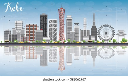 Kobe Skyline with Gray Buildings, Blue Sky and reflections. Vector Illustration. Business and Tourism Concept with Modern Buildings. Image for Presentation, Banner, Placard or Web Site.