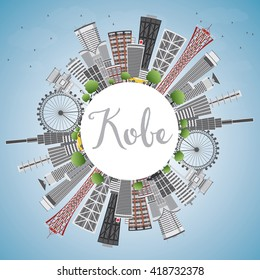 Kobe Skyline with Gray Buildings, Blue Sky and Copy Space. Vector Illustration. Business and Tourism Concept with Modern Buildings. Image for Presentation, Banner, Placard or Web Site.