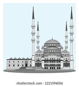 Kocatepe mosque in Ankara the capital city of Turkey