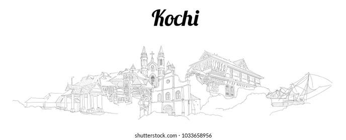 Kochi city vector panoramic hand drawing sketch illustration