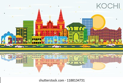 Kochi India City Skyline with Color Buildings, Blue Sky and Reflections. Vector Illustration. Business Travel and Tourism Concept with Historic Architecture. Kochi Cityscape with Landmarks.