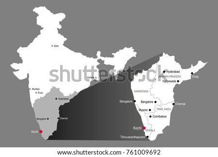 Kochi India Map City Labels Stock Vector Royalty Free 761009692