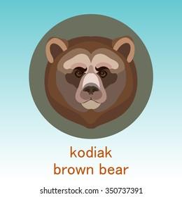 Kodiak brown bear. Face flat icon design. Animal icons series.