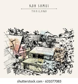 Koh Samui island, Thailand, Southeast Asia. Rural tropical landscape. Freelancers' summer paradise. Travel sketch. Vintage touristic postcard, poster, booklet or book illustration in vector