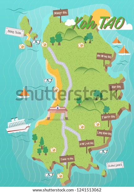Koh Tao Island Map Thailand Attraction | Royalty-Free Stock ...