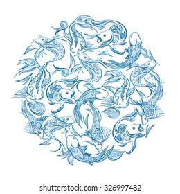 Koi carp aqarium in blue circle, vector line hand sketched illustration