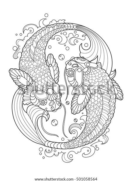 Image Vectorielle De Stock De Livre De Coloriage De La Carpe 501058564