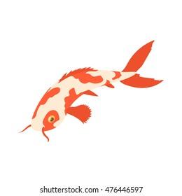 Koi carp icon in cartoon style isolated on white background. Fish symbol