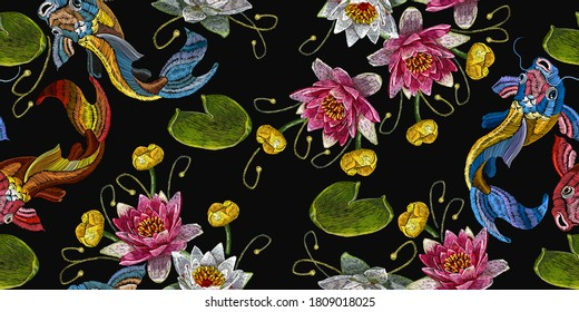 Koi carp, pink and white lotuses and water lilies. Template fashionable clothes. Embroidery fish and water flowers seamless pattern, japanese art