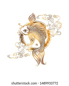 Koi carp and stylized chinese waves, clouds and sun - Asian spiritual symbols. Japanese hieroglyph - Koi. It can be used for tattoo and embossing or print for interior. T-shirt design.