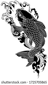 koi carp swimming upstream. Japanese gold fish with water waves. Tattoo . Black and white vector illustration