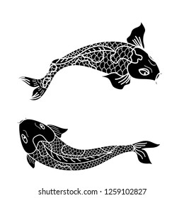 koi carp vector isolate for tattoo.Japanese carp drawing.Hand drawn line art of fish (Koi carp). Vector isolated. Idea for tattoo and coloring books.